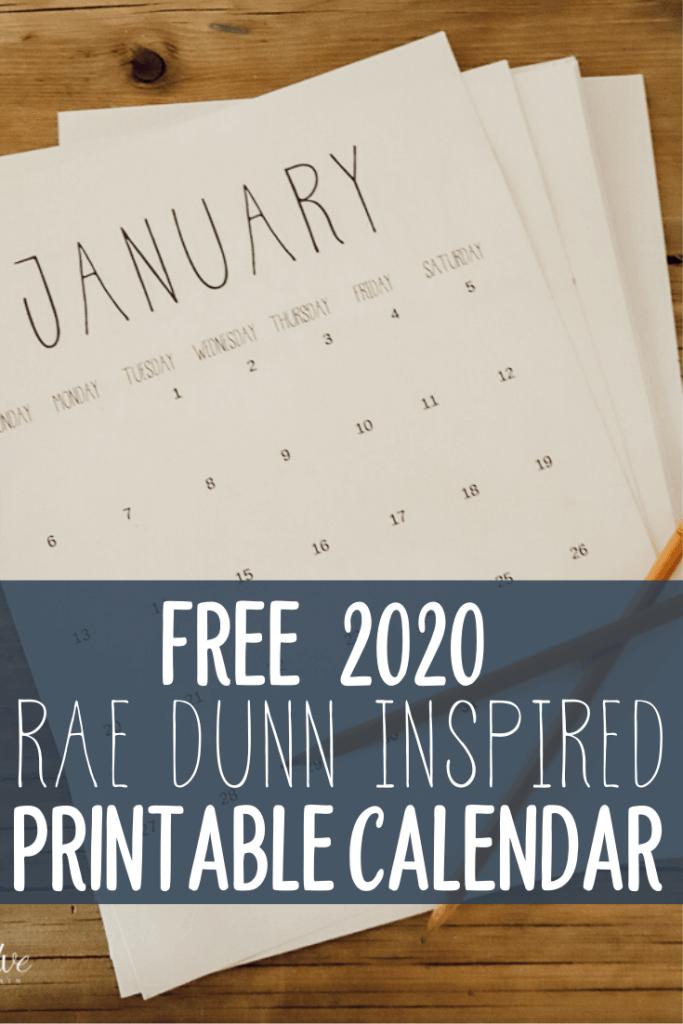 Rae Dunn inspired FREE printable calendar!