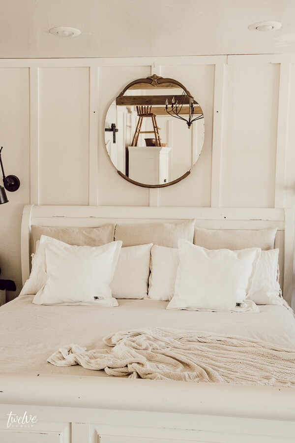 Try this 15 dollar farmhouse style bedding hack to create a beautiful bed