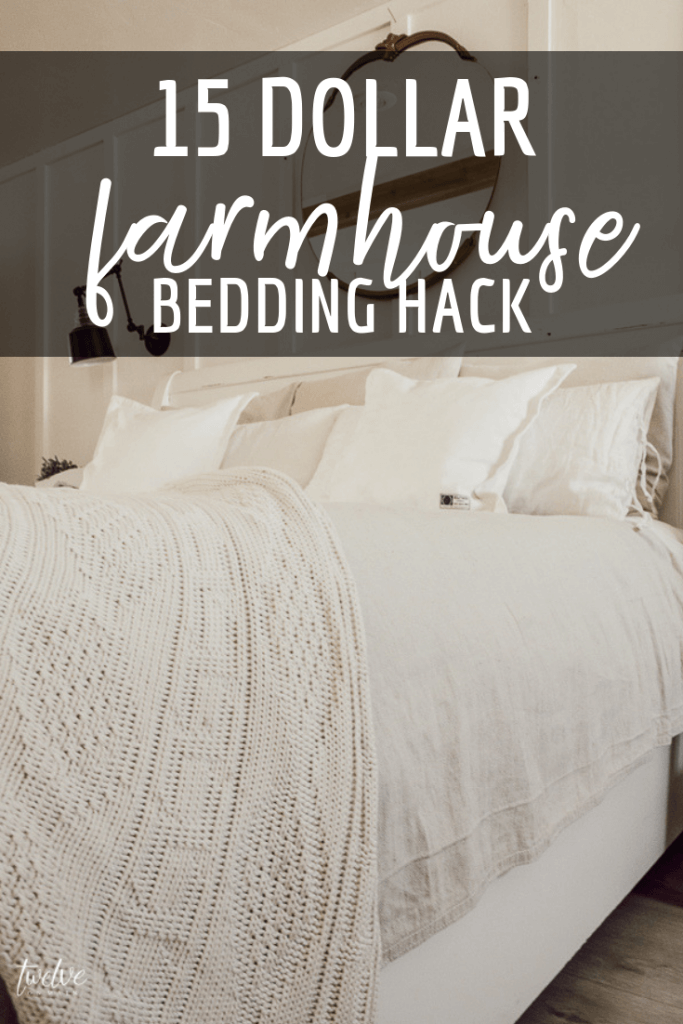 Give your bed a makeover with this 15 dollar farmhouse style bedding hack! It totally transformed my bed!