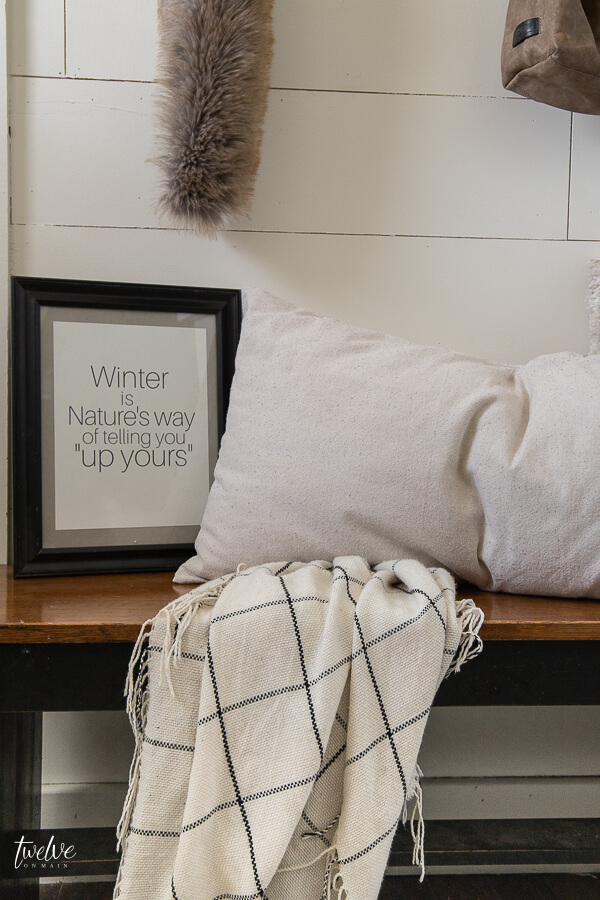 Freshen up your home after Christmas with some winter decor like I did here in my entryway! Plus FREE printables!