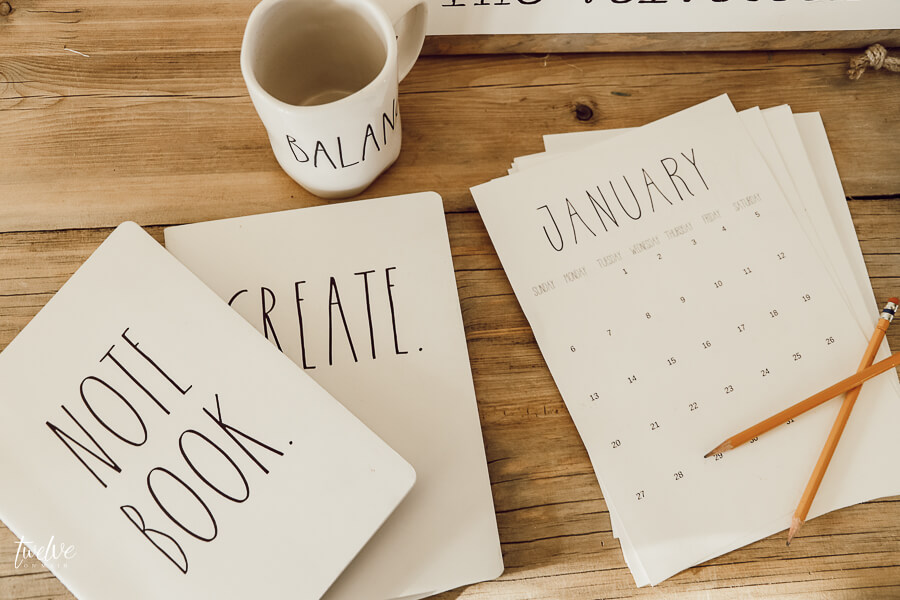 FREE Rae Dunn inspired 2020 printable calendars!