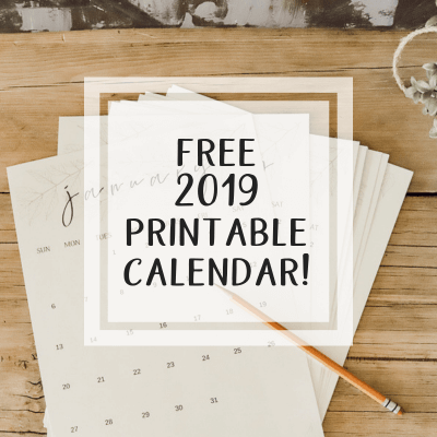 Looking for a Free Printable Monthly Calendar for 2019?
