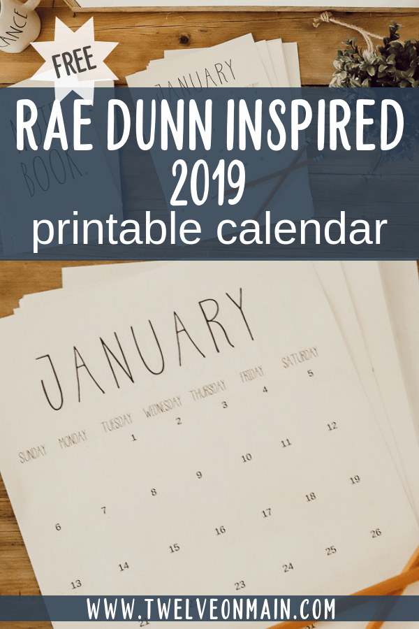 FREE 2019 printable calendars inspired by Rae Dunn pottery!  Get yours now!