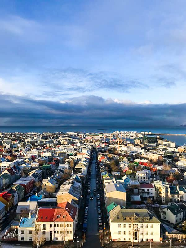 The view from the famous concrete Lutheran church Hallgrímskirkja in Iceland