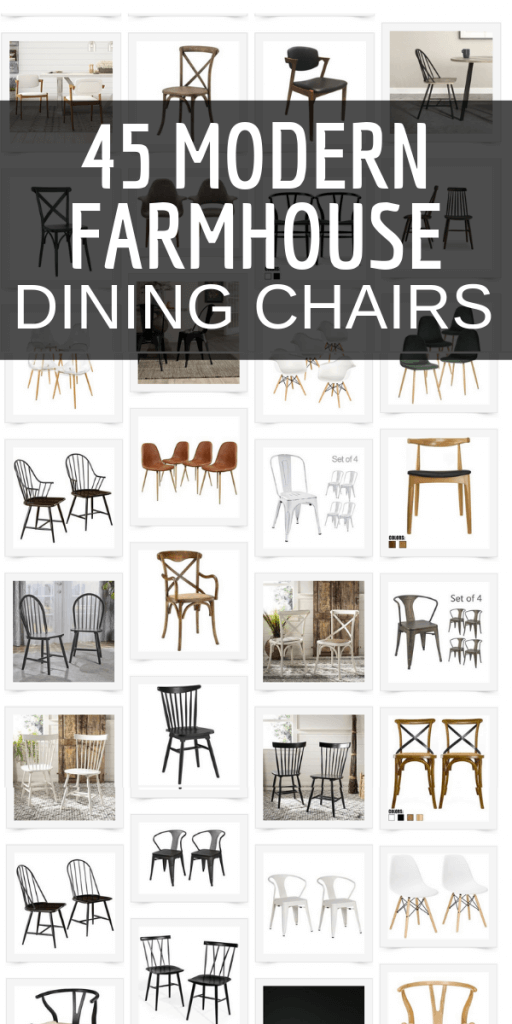 Looking for modern farmhouse dining chairs to add to your dining room furniture?  Check out this collection of over 40 modern farmhouse dining chairs that you will swoon over!