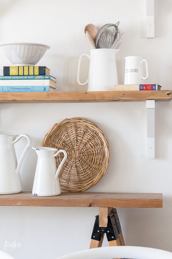 Modern farmhouse shelving in the dining room