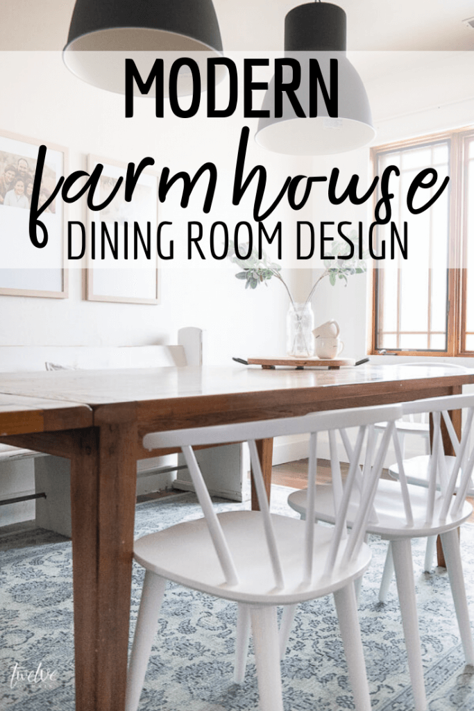 Come check out this amazing modern farmhouse dining room design with simple boho style touches, modern IKEA lights, beautiful framed art and the most amazing white  spindle chairs!