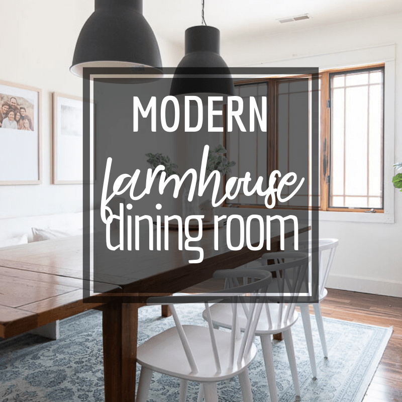 A modern farmhouse dining room design complete with custom framed family pictures, unique white spindle dining chairs, IKEA Hektar lights and more!