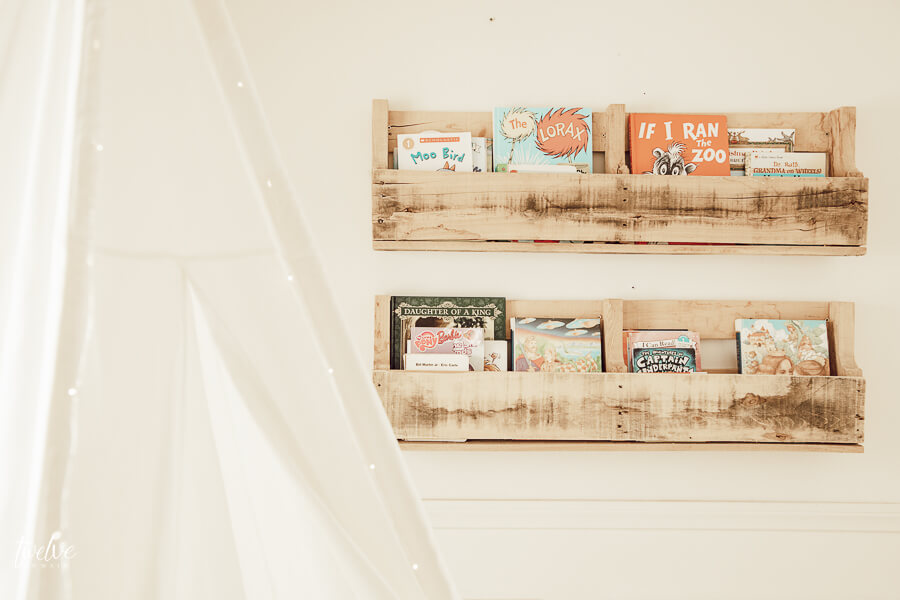 Pallet style book shelves in the reading nook