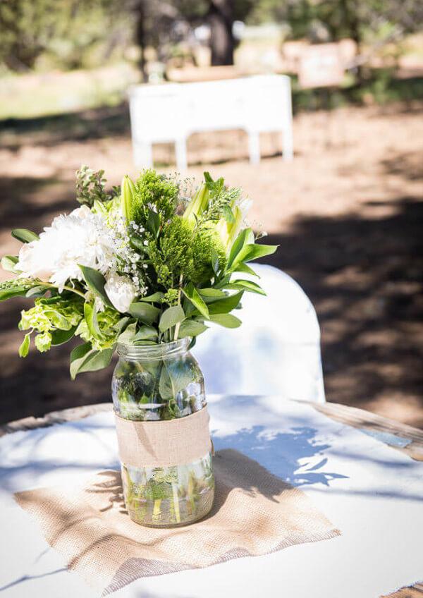 Outdoor wedding flower centerpieces