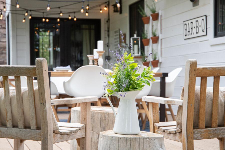 Mid century farmhouse outdoor patio decor