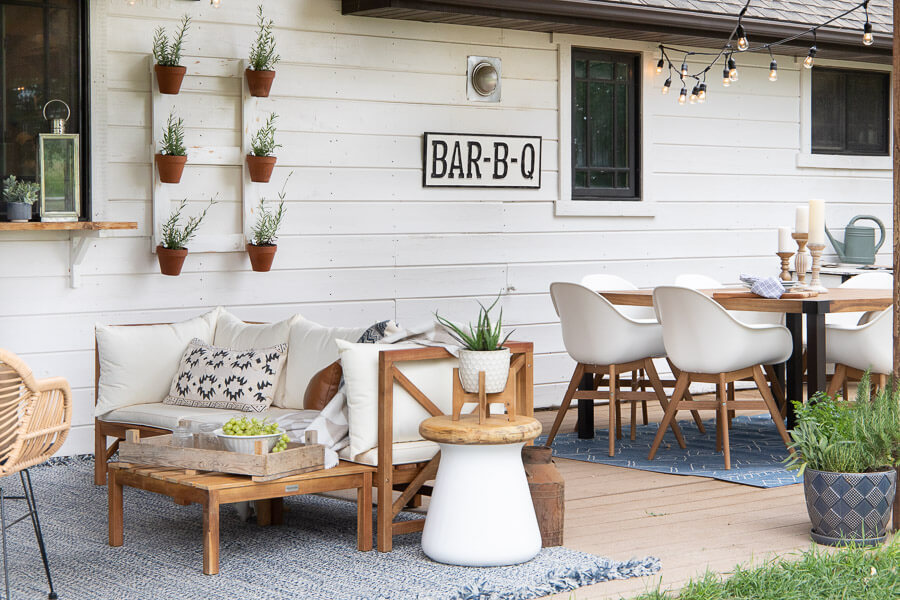 Mid century farmhouse decor with a boho twist