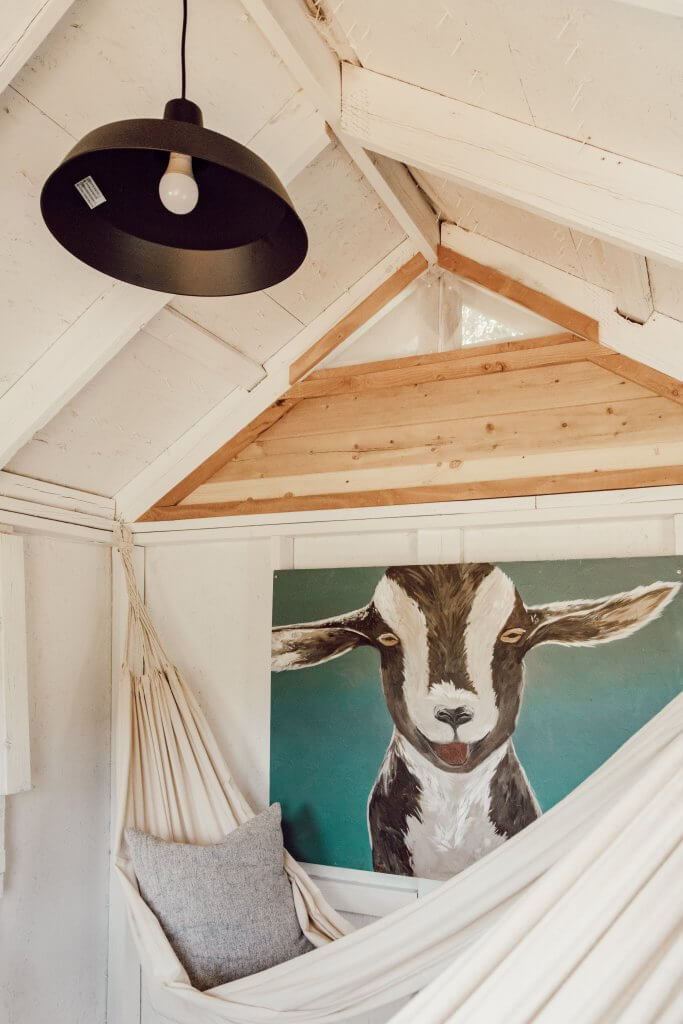 Love this cute goat painting in a gorgeous kids treehouse! Love the details and the simple farmhouse touches!