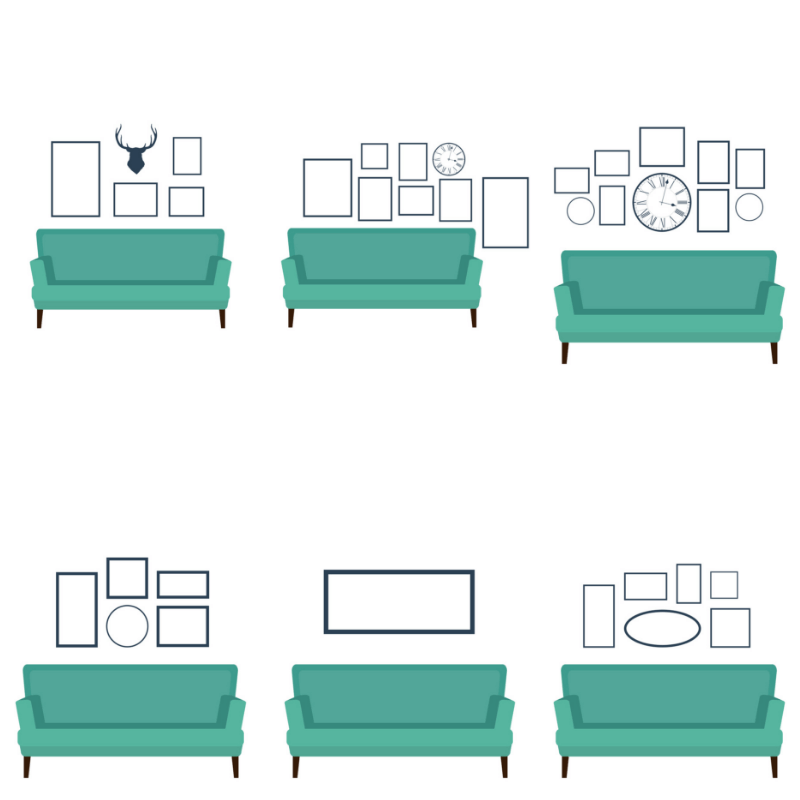 Over 40 ways to arrange pictures on the wall when planning decor for your walls.