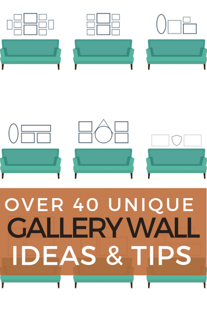 Over 40 ways to hang picture frames on the wall. Check out over 40 mock up gallery walls and find the perfect one for your home! This includes tips tricks on hanging, where to hang framed art and how to choose what to hang!