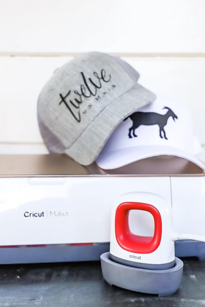 How to make custom hats with your businesses logo with the Cricut products!