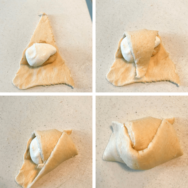 How to roll up an apple and cream cheese dessert in a crescent roll