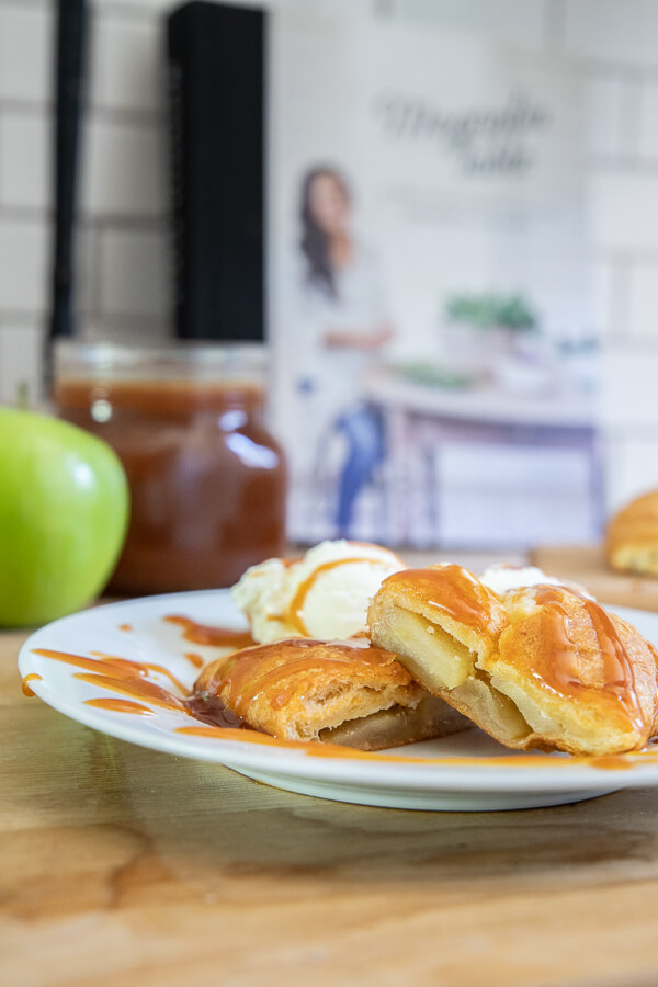 An apple dessert with cream cheese wrapped in a crescent roll!