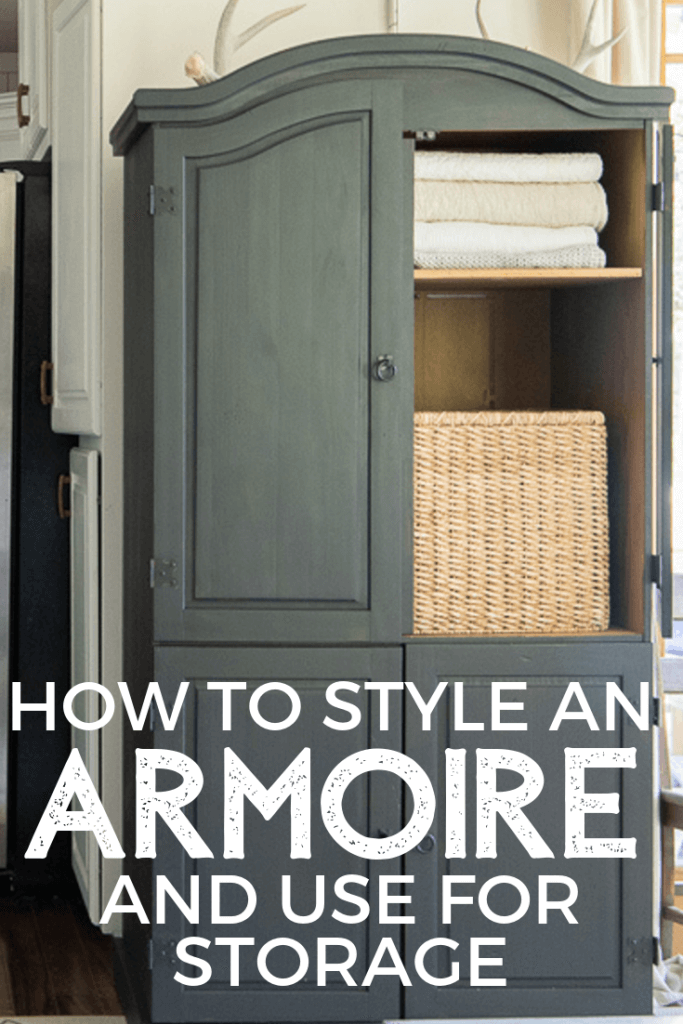 How to style an armoire and use it as valuable storage in your home. How I transformed my cheap, old broken armoire into a stylish black armoire in the living room! How it got a new life with a coat of paint and a few great ideas