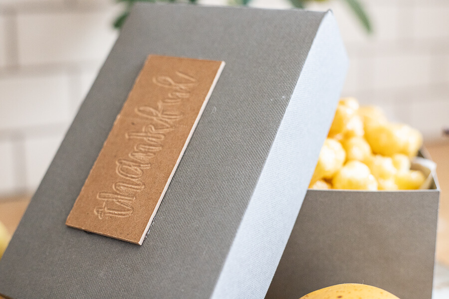 "Great neighbor gift ideas using this DIY gift box made on your Cricut Maker! These are the perfect way to say hoe ""thankful"" you are to those you love."