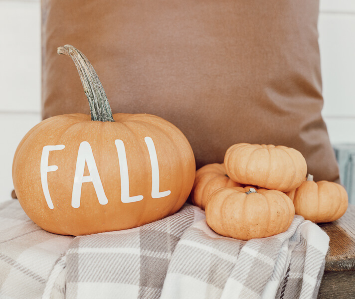 Decorating with pumpkins using Cricut vinyl decals that you can make yourself!