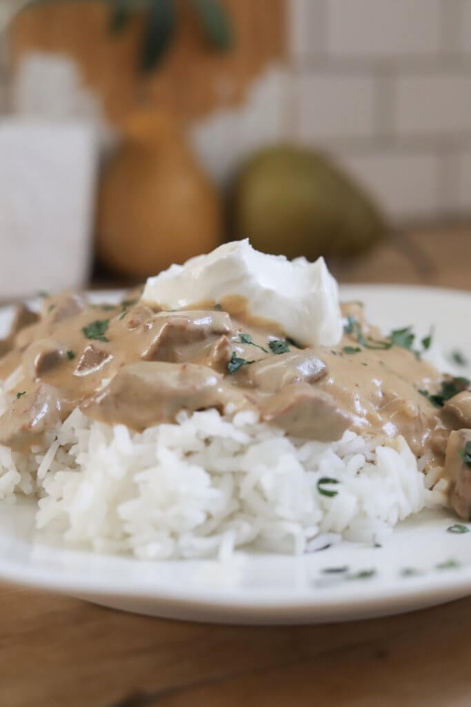 The most amazing and easy beef stroganoff recipe!  Make this in the oven, Instapot, or slow cooker!  This recipe is so versatile and pantry friendly!