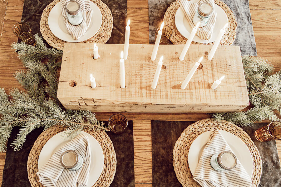 Gorgeous Christmas table decor full of Scandinavian inspired cozy Hygge elements.