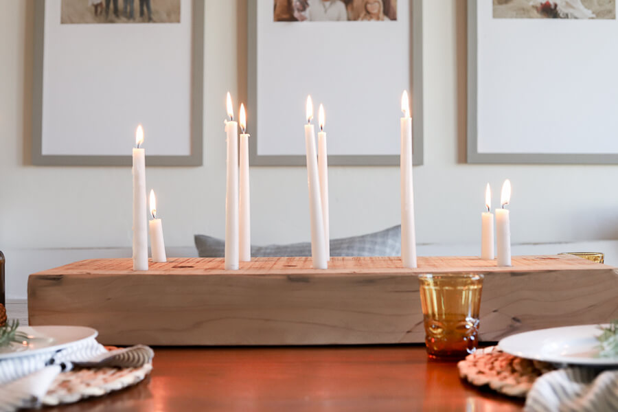 Gorgeous DIY Wood Candle Holder Using an Old Beam