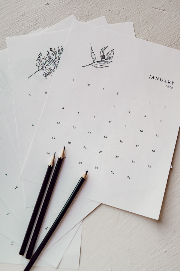 Stylish 2020 printable calendars
