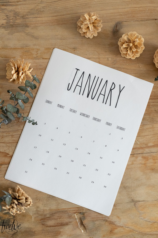 Rae Dunn inspired 2021 printable calendar for FREE! Click here to get access to tons of free printables including this 2021 printable calendar and many more!