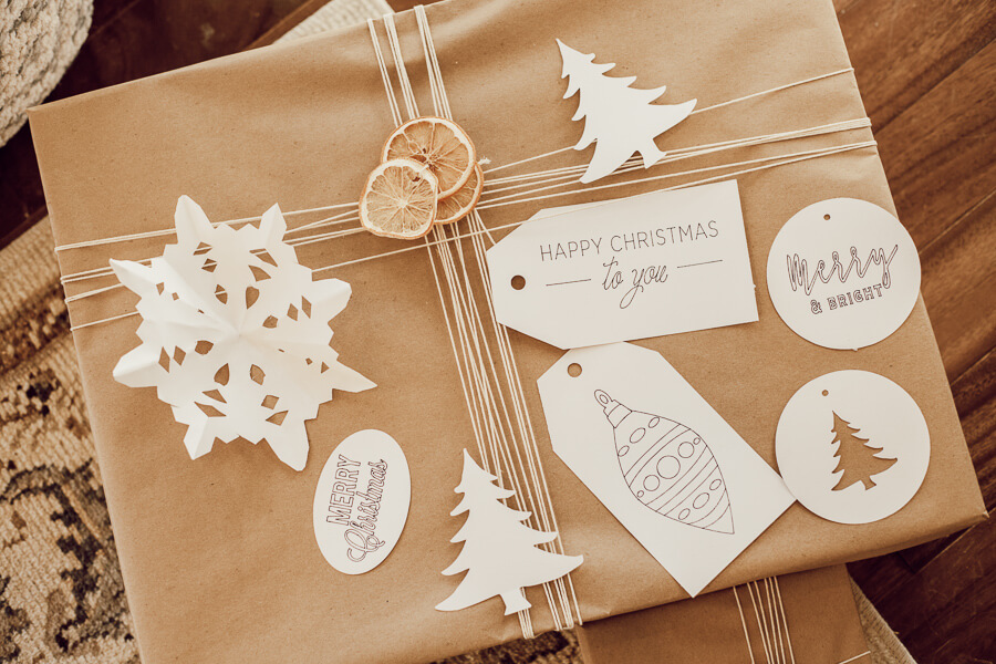 Scandinavian inspired Christmas gift tags made with the Cricut Maker