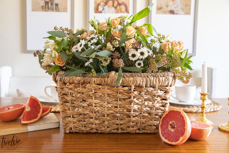 Easy Spring Flower Arrangement Using a Basket