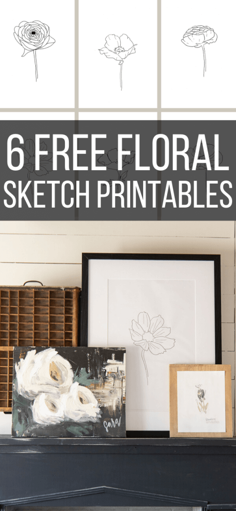 Get these FREE flower sketch printables right now! Use them in your home to add updated wall decor, use them on a gallery wall or get even more creative!