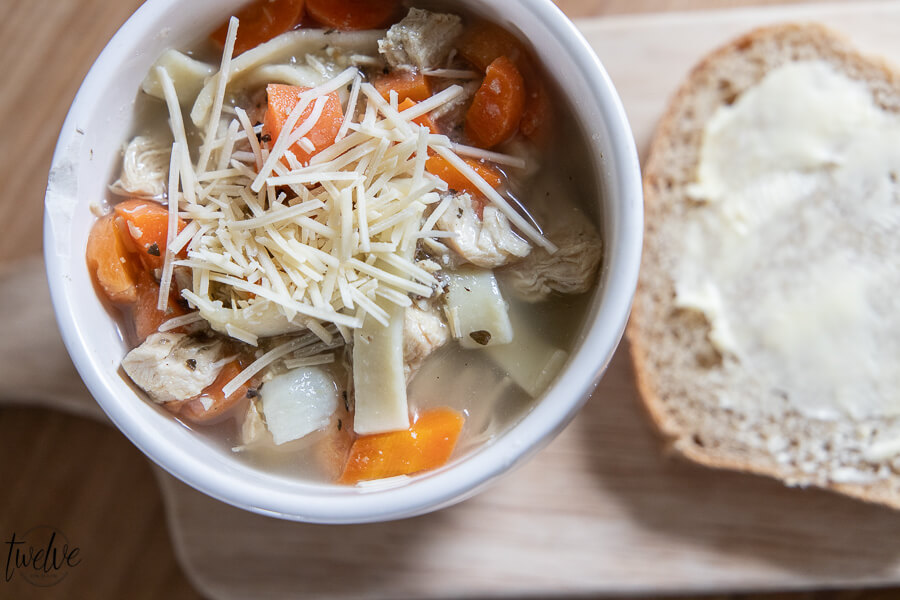 Chicken noodle soup and homemade bread? Yes please! Get the recipe for both here!