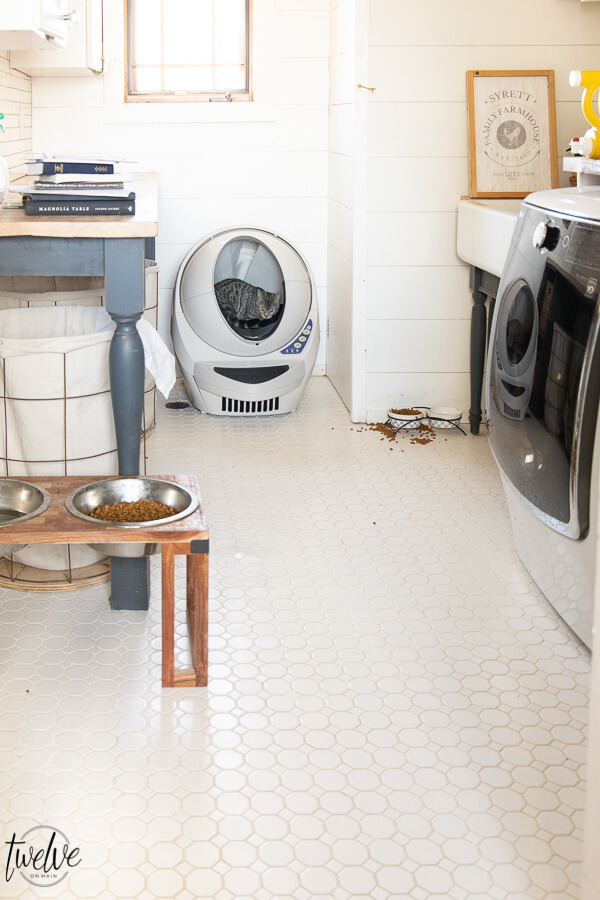 How to clean a laundry room floor effortlessly. I love my Bona hard floor cleaner! It has made my cleaning routine so much easier!