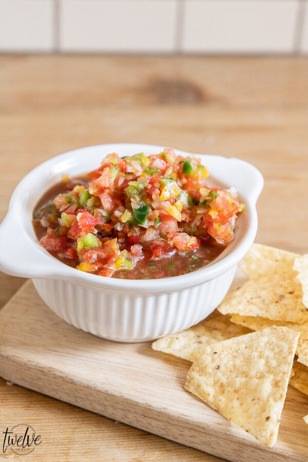 Make this tasty fresh salsa today!  It makes the best nachos, is great on eggs, breakfast burritos, tacos, and so much more!