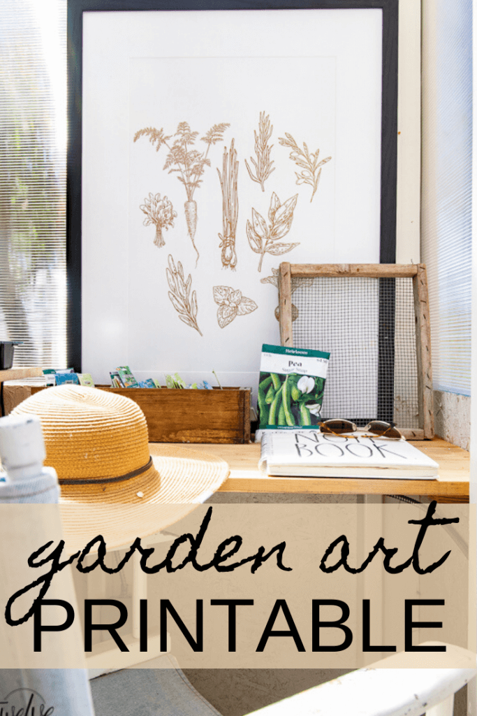 Gorgeous FREE garden art printable available for your outdoor space, inside your home or anywhere!  Its such a cute vegetable illustration.