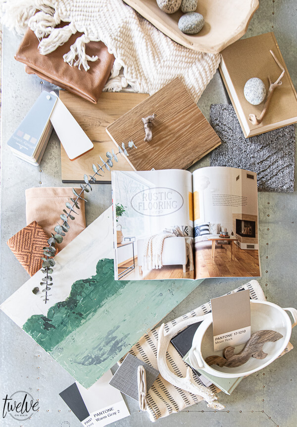 "Get living room decor inspiration!  Check out my living room mood board ideas, flooring ideas using Carpet One ""twenty for 2020"" flooring collection, combined with fabrics, found object, paint colors and more."