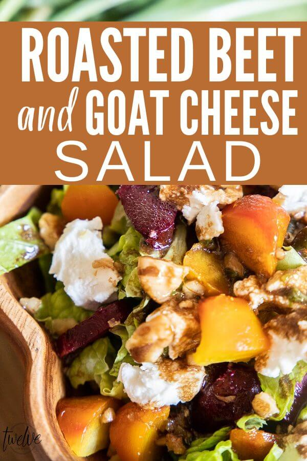 The perfect combination.  Roasted beets and goat cheese salad with romaine lettuce, walnuts, and a homemade balsamic dressing.