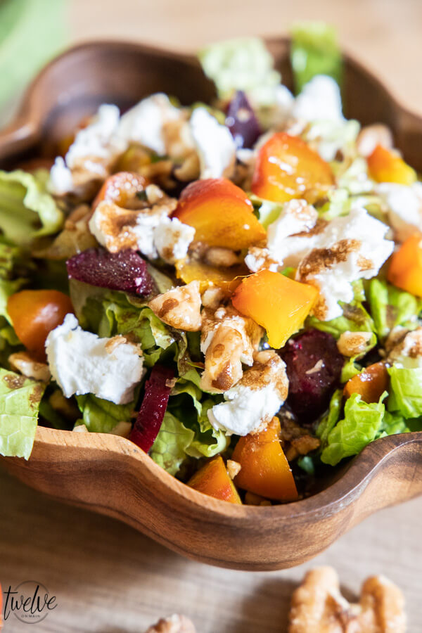 The most flavorful roasted beet and goat cheese salad, full of flavor with walnuts, roasted beets, fresh chevre goat cheese and homemade balsamic dressing.