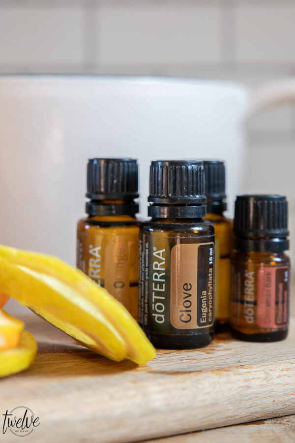 Delicious holiday wassail with cranberry juice, apple juice and Doterra essential oils!