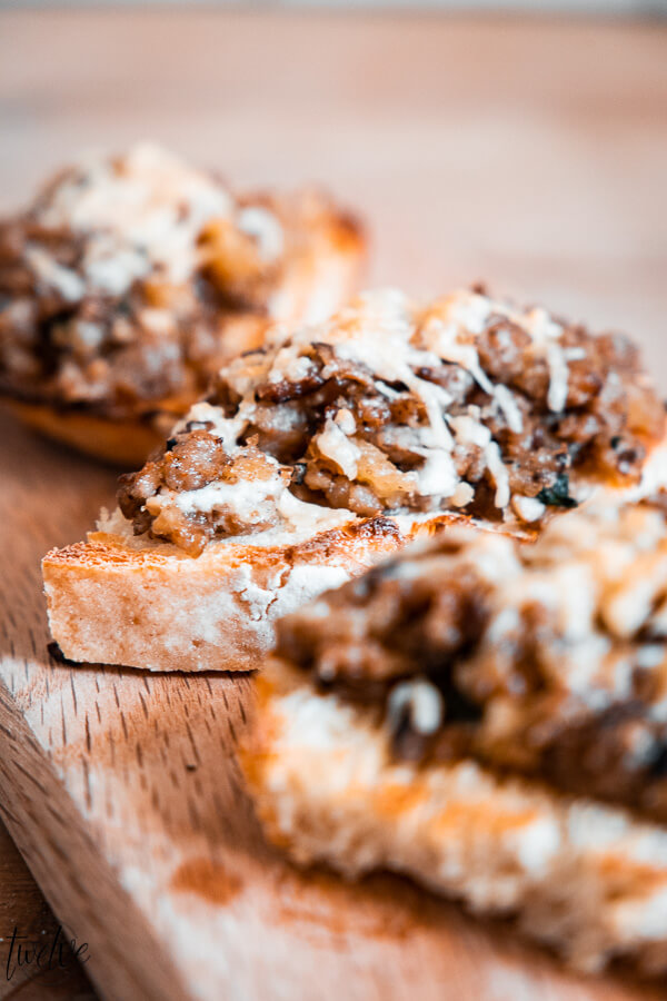 This is an amazing holiday appetizer idea! This sausage and mushroom bruschetta is so flavorful and hearty.