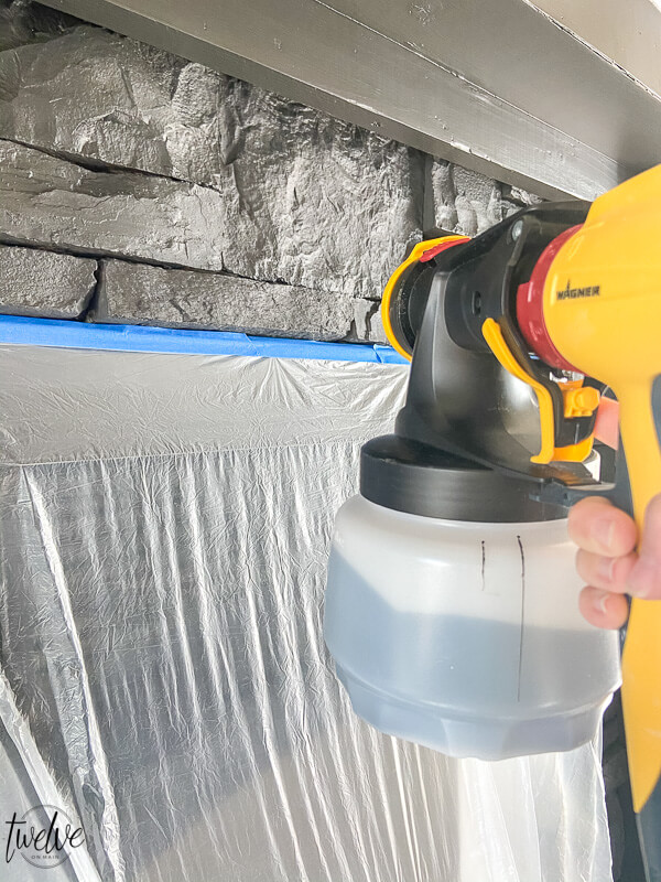 How to paint a stone fireplace with a paint sprayer.