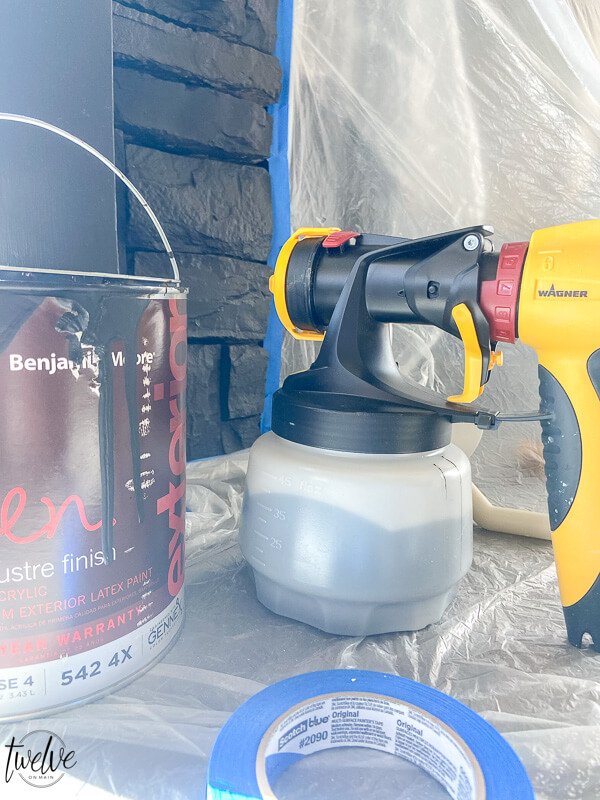 How to paint a stone fireplace with a Wagner paint sprayer.