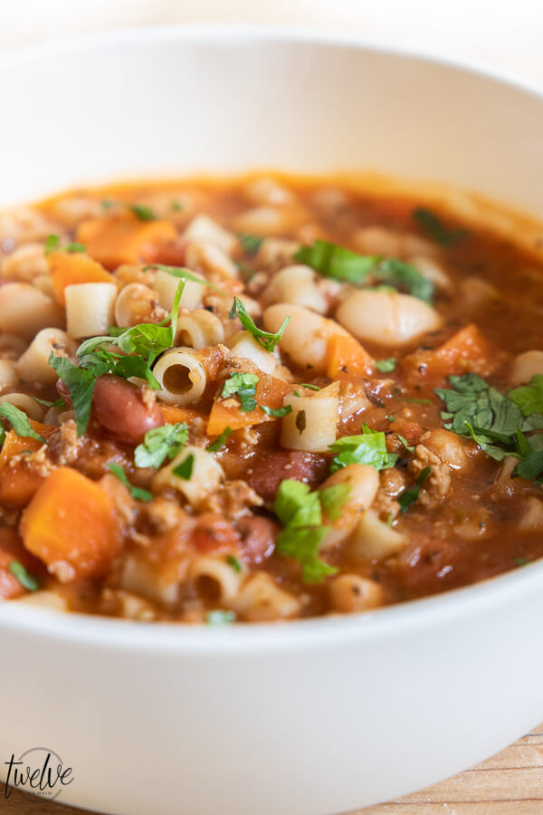 Amazing hearty pasta fagioli soup!  This is so flavorful, hearty and good for you!  Try this soup no a cold winter day and make enough to have some for lunch the next!