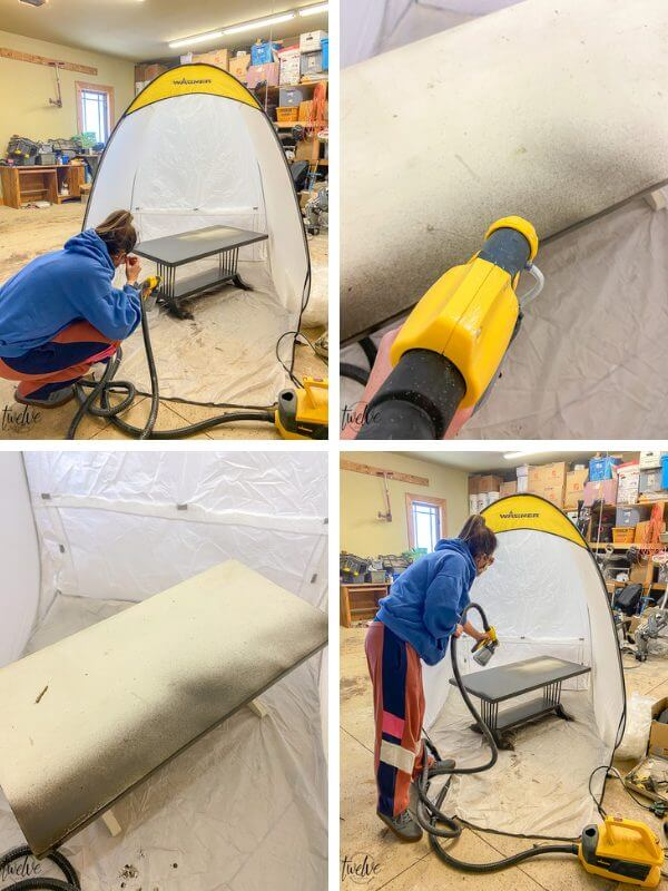 How to use a paint sprayer to paint furniture with confidence and ease.  There are a couple simple steps to creating a beautiful finish.