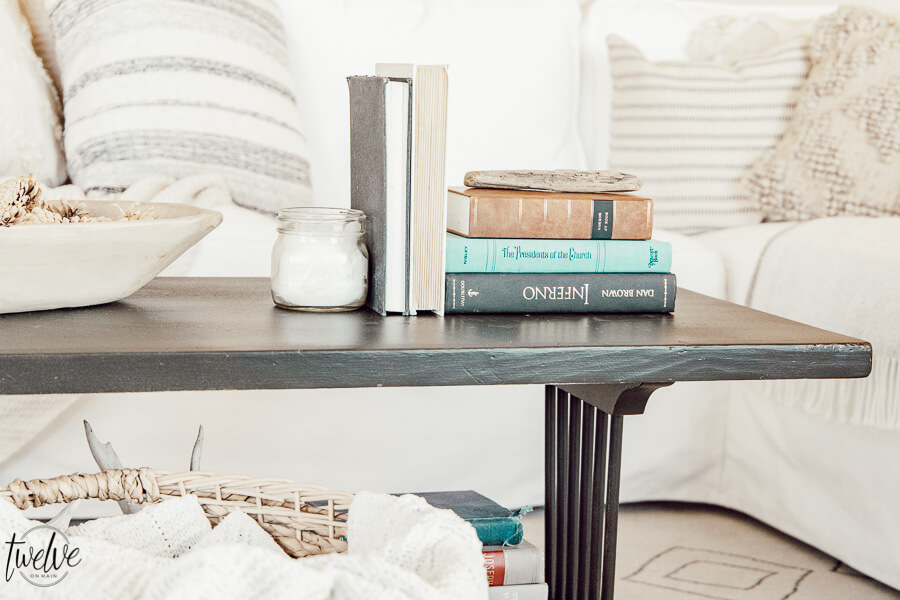 Gorgeous newly painted black coffee table using my Wagner paint sprayer.  Let me show you how to use a paint sprayer to paint furniture easily.