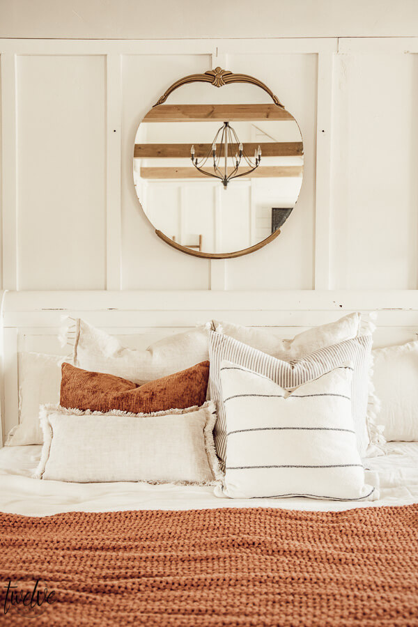 Cozy decor in the bedroom. Its easy to add accent colors and textures to give your space and warm and cozy feel that is perfect for winter.