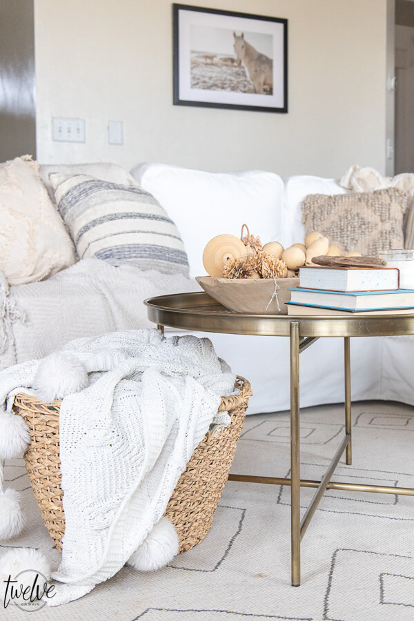 Simple winter decor in the living room using cozy pillows with oodles of texture and simple tones and textures using collections and accent pieces.