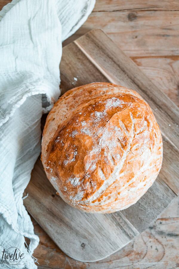 The easiest and most tasty no knead bread recipe that you cant mess up! Baked in a dutch oven or on a sheet pan, this is an amazing bread!